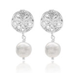 Sand Dollar Pearl Earrings Silver
